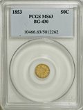 California Fractional Gold: , 1853 50C Liberty Round 50 Cents, BG-430, R.3, MS63 PCGS. PCGSPopulation (39/22). NGC Census: (3/4). (#10466)...