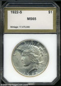 Additional Certified Coins: , 1922-S $1 Peace Dollar MS65 PCI (MS64). This specimen is ...