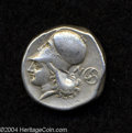 Ancients:Greek, Ancients: Corinthia, Corinth. Ca. 345-307 B.C. AR stater (20 mm,8.54 g). Pegasos flying left / Helmeted head of Athena left; N andtr...