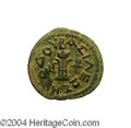Ancients:Judaea, Ancients: Judaea. Herodian. Herod I. 40-4 B.C.E. AE 8 prutot (23 mm, 6.16 g). Year 3. Tripod-lebes; date and monogram in fields / Helm...