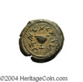 Ancients:Judaea, Ancients: Judaea. The Jewish War. 66-70 C.E. AE 1/8 unit (20 mm,5.76 g). Year 4 (69/70 C.E.). 'To the redemption of Zion', chalicewi...