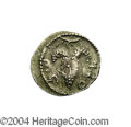 Ancients:Judaea, Ancients: Judaea, Bar Kochba Revolt. Undated coin attributed toyear 3 (134-135 C.E.). AR zuz (20 mm, 3.32 g). 'Shi'mon', grapebunch ...