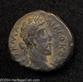 Ancients:Roman, Ancients: Syria, Decapolis. Canatha. Commodus. 177-192 C.E. AE 26mm (12.73 g). Year 253 (190 C.E.) Laureate head right / Dionysussta...