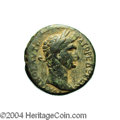 Ancients:Roman, Ancients: Galilaea, Sepphoris. Trajan. 98-117 C.E. AE 26 mm (16.85g). Laureate head right / Legend in two lines within wreath.Rosenb...
