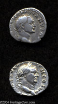 Ancients:Roman, Ancients: Vespasian. A.D. 69-79. AR denarius (17 mm, 3.42 g).'Judaea Capta' issue. Rome, A.D. 72/3. Laureate head right /Victory sta... (Total: 2 coins Item)