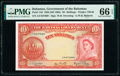 World Currency, Bahamas Bahamas Government 10 Shillings 1936 (ND 1963) Pick 14d PMG Gem Uncirculated 66 EPQ.. ...
