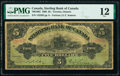 World Currency, Canada Toronto, ON- Sterling Bank of Canada $5 25.4.1906 Pick S1448 Ch.# 700-10-02 PMG Fine 12.. ...