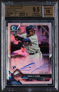 Baseball Cards:Singles (1970-Now), 2018 Bowman Chrome Ronald Acuna Rookie Autograph Refractor #BCRA-RA BGS Gem Mint 9.5, Auto 10 - Serial Numbered 395/499....