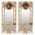 Furniture, A Pair of Monumental Italian Rococo-Style Painted and Partial Gilt Trumeau Mirrors with Integrated Console Tables with Marble ... (Total: 2 Items)