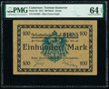 World Currency, Cameroon Kaiserliches Gouvernement 100 Mark 12.8.1914 Pick 3b PMG Choice Uncirculated 64 EPQ.. ...