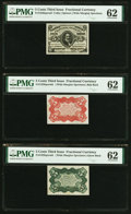 Fractional Currency:Third Issue, Fr. 1236SP/36SP/38SP 5¢ Third Issue Wide Margin Specimen Set PMG Uncirculated 62.. ... (Total: 3 notes)