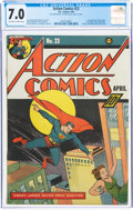Golden Age (1938-1955):Superhero, Action Comics #23 (DC, 1940) CGC FN/VF 7.0 Off-white to white pages....