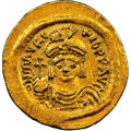 Ancients:Byzantine, Ancients: Maurice Tiberius (AD 582-602). AV solidus (24mm, 4.48 gm, 7h). NGC MS 5/5 - 4/5. ...