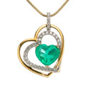Estate Jewelry:Necklaces, Colombian Emerald, Diamond, Gold Pendant-Necklace . ...