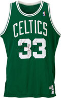 Basketball Collectibles:Uniforms, 1987-88 Larry Bird Game Worn & Signed Boston Celtics Jersey, MEARS A10....