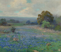 Robert William Wood (American, 1889-1979) Afternoon Bluebonnet Pasture, circa 1920s Oil on canvas