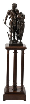 A French Patinated Bronze Figural Group on a Five-Column Mahogany Pedestal, 19th century Marks to bronze: Eug