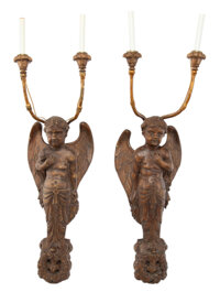 A Pair of Italian Figural Carved Wood Mounted Sconces, 18th century and later 42-1/2 x 12 x 15-1/2 inches (108.0 x