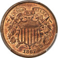 1867 2C Doubled Die Obverse, FS-101, MS64 Red PCGS....(PCGS# 38273)