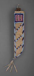 American Indian Art:Beadwork and Quillwork, An Assiniboine Beaded Hide Knife Sheath and Knife ...