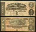 """Confederate Notes:1864 Issues, """"The Lost Cause"""" Poem Printed on Back T68 $10 1864 Very Fine;. """"The Lost Cause"""" Poem Printed on Back T69 $5 1864 Very Fine... (Total: 2 notes)"""