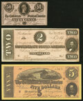 """Confederate Notes:1864 Issues, CT69 $5 1864 Facsimile with """"Lost Cause"""" Poem Printed on Back Crisp Uncirculated;. T70 $2 1864 Very Fine;. T72 50 Cent... (Total: 3 notes)"""