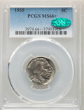 Buffalo Nickels: , 1935 5C MS66+ PCGS. CAC. PCGS Population: (785/202 and 43/39+). NGC Census: (396/46 and 9/12+). CDN: $145 Whsle. Bid for NG...