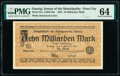 World Currency, Danzig Senate of the Municipality - Free City 10 Milliarden Mark 11.10.1923 Pick 31a PMG Choice Uncirculated 64.. ...