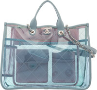 "Chanel Blue PVC and Leather Coco Splash Tote with Silver Hardware Condition: 3 15 1/2"" Width x 12"" Height x..."