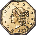 California Fractional Gold , 1853 50C Octagonal Liberty, Peacock Reverse, 50 Cents, BG-302, Low R.4, MS64 NGC. A collectible Period One variety by the m...