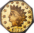 California Fractional Gold , 1875 50C Indian Octagonal 50 Cents, BG-948, High R.5, MS66 Prooflike NGC. A scarce C.F. Mohrig issue, struck from shattered...