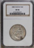 Coins of Hawaii: , 1883 50C Hawaii Half Dollar XF45 NGC. NGC Census: (24/197). PCGSPopulation (33/307). Mintage: 700,000. (#10991)...