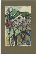 Texas:Early Texas Art - Impressionists, JOSEPHINE MAHAFFEY (American, 1903-1982). Untitled, landscape.Watercolor and pen on paper, mounted on mat board. Signed to ...