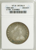 Early Half Dollars: , 1806 50C Pointed 6, Stem--Cleaned--ANACS. VF30 Details. O-109. NGCCensus: (216/753). PCGS Population (85/420). Mintage: 83...