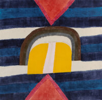 Carol Summers (b. 1925) Chiefs Blanket, 1971 Woodcut in colors on thin Japon paper 36-1/2 x 37 in