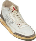 Basketball Collectibles:Others, 1988 Michael Jordan Game Worn & Signed Single Air Jordan III from Career-High Shooting Percentage Performance....