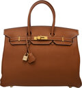 """Luxury Accessories:Bags, Hermès 35cm Gold Togo Leather Birkin Bag with Gold Hardware. J Square, 2006. Condition: 2. 14"""" Width x 10"""" Height ..."""