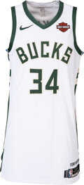 Basketball Collectibles:Uniforms, 2019 Giannis Antetokounmpo Game Worn Milwaukee Bucks Jersey - Photo Matched to 11/29 vs. Cavs (Matched to Multiple Blood Stain...