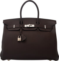 Hermès 35cm Chocolate Clemence Leather Birkin Bag with Palladium Hardware H Square, 2004 Conditio