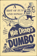 """Movie Posters:Animation, Dumbo (Buena Vista, R-1950s). Folded, Very Fine-. One Sheet (27"""" X 41""""). Animation.. ..."""