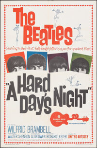 """A Hard Day's Night (United Artists, 1964). Folded, Very Fine. One Sheet (27"""" X 41""""). Rock and Roll"""