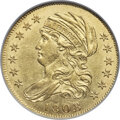 Early Half Eagles, 1808/7 $5 Wide Date, BD-1, R.6, MS61 NGC....