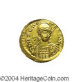 Ancients:Roman, Ancients: Zeno. A.D. 474-491. AV solidus (20 mm). Constantinople,second reign, A.D. 476-491. Diademed and helmeted bust facingslight...