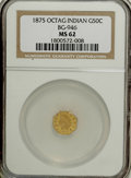 California Fractional Gold: , 1875 50C Indian Octagonal 50 Cents, BG-946, R.4, MS62 NGC. NGCCensus: (2/8). PCGS Population (20/39). (#10804)...