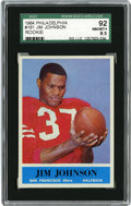 Football Cards:Singles (1960-1969), 1964 Philadelphia Jim Johnson Rookie #161 SGC 92 NM/MT+ 8.5. The Hall of Fame halfback looks at the pigskin in his hands as...
