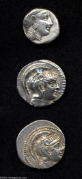 Ancients:Greek, Ancients: Lot of three Athenian tetradrachms. Includes: Post-393B.C. Fine // New Style. VF // Another. Nice VF.. From the LakePear... (Total: 3 coins Item)