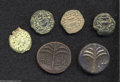 Ancients:Greek, Ancients: Lot of six Jewish War and Bar Kochba bronzes. Includes:Jewish War. Year 2. Prutah (3 coins) // Another, but year 3 // BarK... (Total: 6 coins Item)