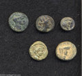 Ancients:Greek, Ancients: Lot of five miscellaneous bronze coins. Includes:Phoenicia, Tyre // Syria, Trachonitis. Caesarea Panias. Hendin 890(2 coin... (Total: 5 coins Item)