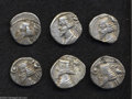Ancients:Greek, Ancients: Lot of six Parthan drachms, all of Phraates IV. Includes:Shore 276 (4 coins) // Shore 297 (2 coins). Average Fine to VF..... (Total: 6 coins Item)