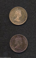 British Caribbean Territories: , British Caribbean Territories: A pair of 1 Cent Proofs as follows;1958, KM2, red and brown Proof with a few tiny marks; and a 1962,KM2, violet and gold t...